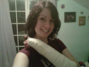 soft cast over broken wrist from snowbording