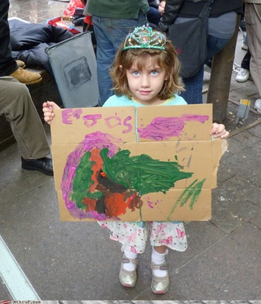 kid with protest sign