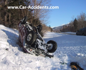 car wreck in snow