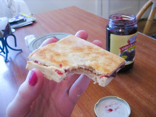 homemade biscuits with butter and jam