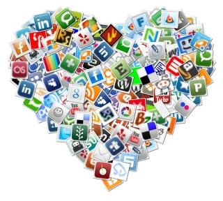 mash-up of social media logos