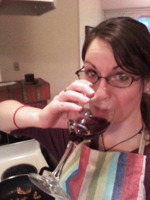 drinking wine while cooking