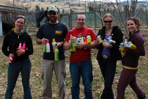 friends for easter egg hunt with beer