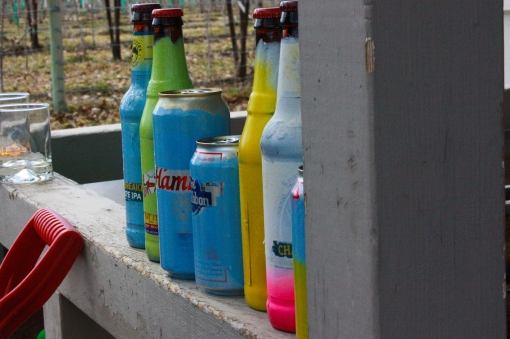 painted beer bottles for Easter