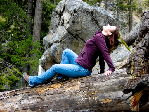 posing on log Okanogan Forest WA