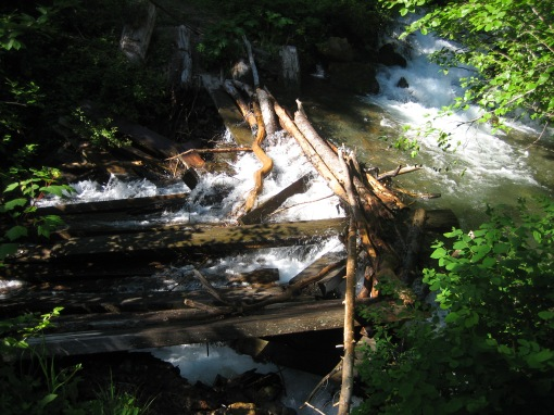 collapsed bridge on Copper Glance Trail, WA