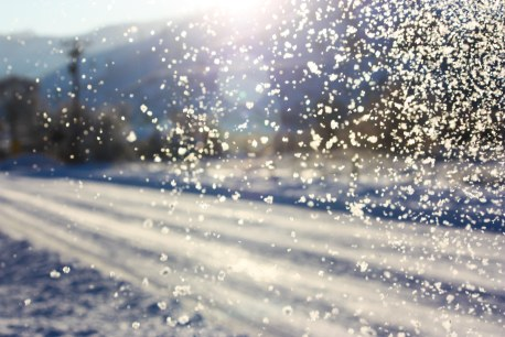 falling snow with sunshine