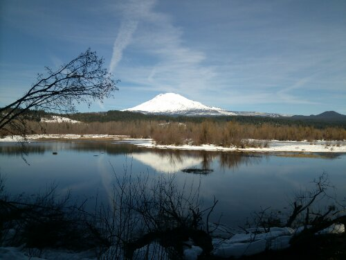Mt Adams behind Trout Lake, Washington