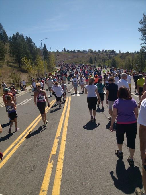 crowd on Doomsday Hill, Bloomsday 2013, Spokane WA
