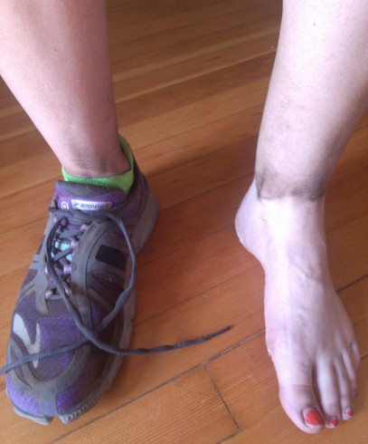 The joys of running on trail: no shin-splints, less knee pain, and impressive filth. Poor purple shoes.