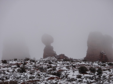 Balancing Rock in the mist, Arches National Park Utah