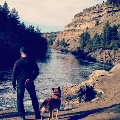 man and dog at Steelhead Falls OR
