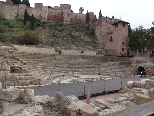 Roman ruins at Alcazaba, Malaga Spain