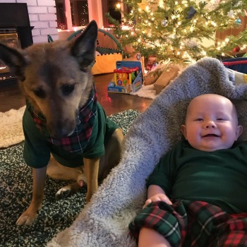 baby and his dog, best friends